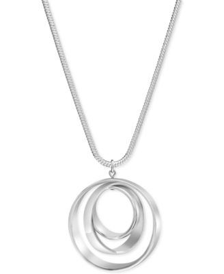 Image of Charter Club Silver-Tone Orbital Pendant Necklace
