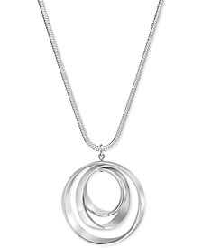 Charter Club Silver-Tone Orbital Pendant Necklace