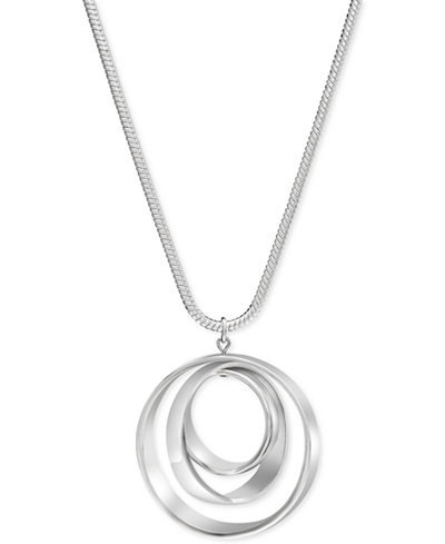 Charter Club Silver-Tone Orbital Pendant Necklace
