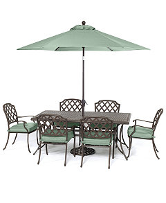Nottingham Outdoor Cast Aluminum 7 Pc Dining Set 84 X 38 Table And 6 Chairs Created For Macys