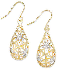 Two-Tone Floral Teardrop Drop Earrings in 10K Gold and 10K White Gold