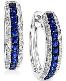 EFFY® Sapphire (1/3 ct. t.w.) and Diamond (1/4 ct. t.w.) Hoop Earrings in 14k White Gold, Created for Macy's