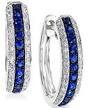 EFFY Sapphire (1/3 ct. t.w.) and Diamond (1/4 ct. t.w.) Hoop Earrings in 14k White Gold