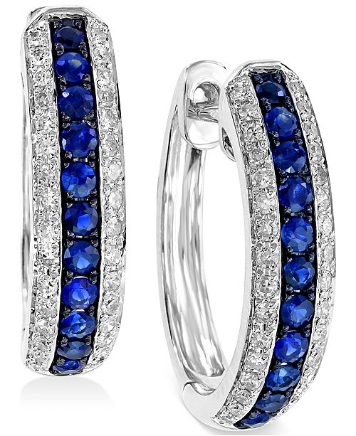 EFFY Collection EFFY® Sapphire (1/3 ct. t.w.) and Diamond (1/4 ct. t.w.) Hoop Earrings in 14k White Gold, Created for Macy's