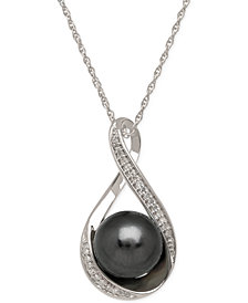 Cultured Tahitian Pearl (9mm) and Diamond Accent Pendant Necklace in 14k White Gold