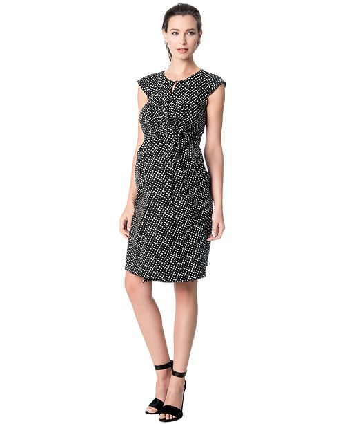 A Pea in the Pod Maternity Printed Faux-Wrap Dress