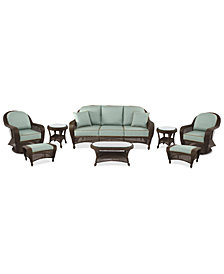 Monterey Outdoor Wicker 8-Pc. Seating Set (1 Sofa, 2 Swivel Chairs, 2 Ottomans, 2 End Tables & 1 Coffee Table) with Custom Sunbrella®,  Created for Macy's
