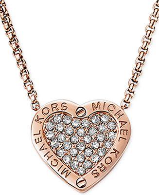 Michael kors crystal pav mk logo heart pendant necklace jewelry michael kors crystal pav mk logo heart pendant necklace mozeypictures Image collections