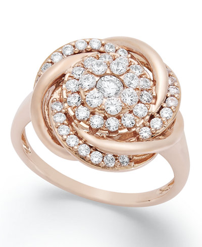 Wrapped in Love™ Diamond Ring, 14k Rose Gold Diamond Pave Knot Ring (3/4 ct. t.w.), Created for Macy's