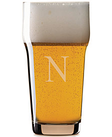 Lenox Tuscany Monogram Barware Pint Beer Glasses, Set of 4, Block Letters