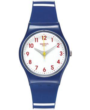 SWATCH Women'S Swiss Matelot Blue Silicone Strap Watch 25Mm Ln149