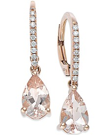 Morganite (1-1/5 ct. t.w.) and Diamond (1/10 ct. t.w.) Earrings in 14k Rose Gold
