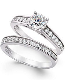 Diamond Bridal Engagement Ring Set in 14k White Gold (1 ct. t.w.)