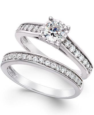 TruMiracle Diamond Bridal Engagement Ring Set in 14k White Gold 1