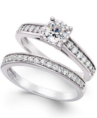 Trumiracle Diamond Bridal Engagement Ring Set In 14k White Gold 1