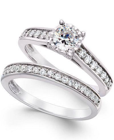 trumiracle diamond bridal engagement ring set in 14k white gold 1 ct tw - Diamond Wedding Ring Sets