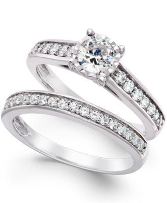 Attirant TruMiracle Diamond Bridal Engagement Ring Set In 14k White Gold (1 Ct. T.w.)