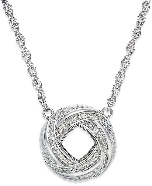 Macy's Diamond Love Knot Pendant Necklace in Sterling Silver (1/4 ct. t.w.)