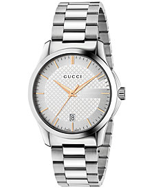 Gucci Unisex Swiss G-Timeless Stainless Steel Bracelet Watch 38mm YA126442