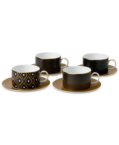 Wedgwood Arris Accent Teacup & Saucer Set of 4