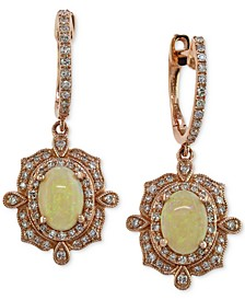 EFFY® Opal (9/10 ct. t.w.) and Diamond (3/8 ct. t.w.) Drop Earrings in 14k Rose Gold