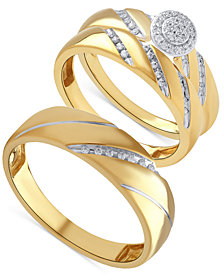 Beautiful Beginnings Diamond Halo Engagement Ring Set for Her and Band for Him in 14k Gold