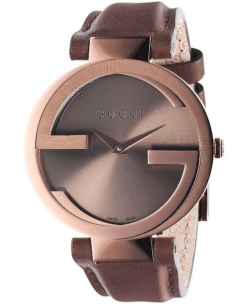 Gucci Unisex Swiss Interlocking Brown Leather Strap Watch