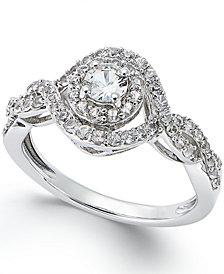 14K White Gold White Sapphire (3/4 ct) Ring