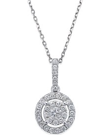 Diamond Circle Pendant Necklace in 14k White Gold (1/3 ct. t.w.)