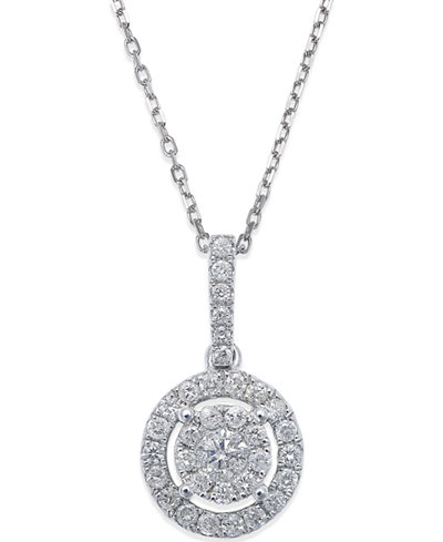 Diamond circle pendant necklace in 14k white gold 13 ct tw diamond circle pendant necklace in 14k white gold 13 ct tw aloadofball Images