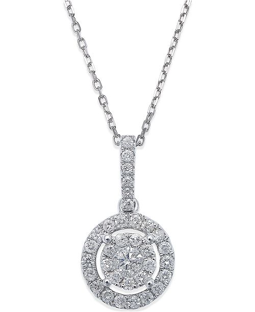Macys diamond circle pendant necklace in 14k white gold 13 ct main image aloadofball Gallery