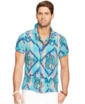 Polo ralph lauren printed plaid camp shirt casual button for Polo ralph lauren casual button down shirts