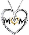 Mom Diamond Heart Necklace