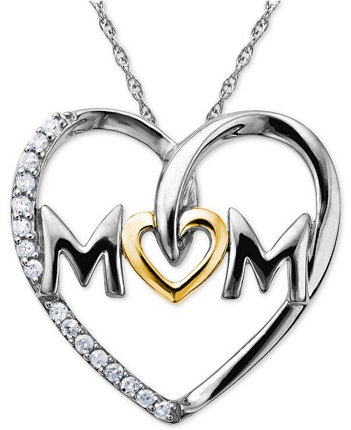 Macy's Mom Diamond Heart Necklace in Sterling Silver and 14k Gold (1/10 ct. t.w.)