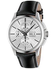 Gucci Men's Swiss Automatic Chronograph G-Timeless Black Leather Strap Watch 44mm YA126265