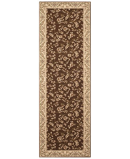 "Kenneth Mink CLOSEOUT! KM Home Area Rug, Princeton Floral Brown 2'7"" x 7'10 Runner Rug"