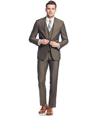 Kenneth Cole Reaction Brown Sharkskin Slim-Fit Vested Suit - Suits ...