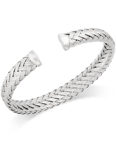 Woven Cuff Bracelet in Sterling Silver
