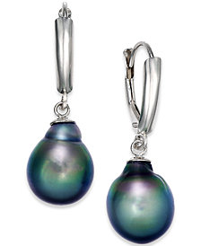 Tahitian Pearl Drop Earrings in 14k White Gold (10mm)