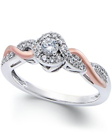 Diamond Twist Promise Ring in Sterling Silver and 14k Rose Gold (1/5 ct. t.w.)