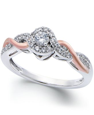 Diamond Twist Promise Ring in Sterling Silver and 14k Rose Gold (1/5 ct