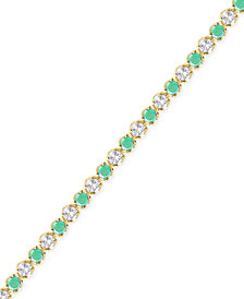 Emerald (3-1/6 ct. t.w.) and White Topaz (2-1/5 ct. t.w.) Bracelet in 18k Gold over Sterling Silver