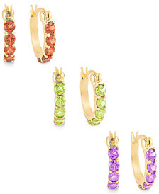 Multi-Stone Hoop Earrings Set in 18k Gold over Sterling Silver