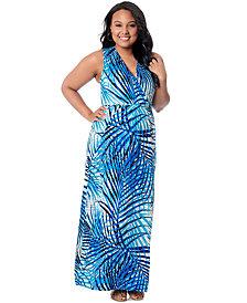 Motherhood Maternity Plus Size Printed Empire-Waist Maxi Dress