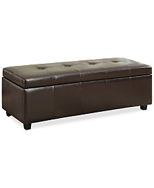 Chamberlain Faux Leather Storage Ottoman, Quick Ship