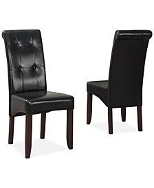 Verona Faux Leather Set of 2 Tufted Parson Chairs,