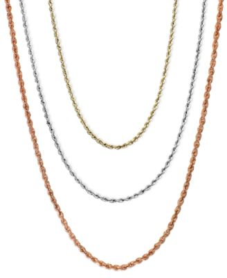 1830 Rope Chain Necklaces in 14k Gold White Gold or Rose Gold