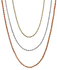 "18-30"" Rope Chain Necklaces in 14k Gold, White Gold or Rose Gold"