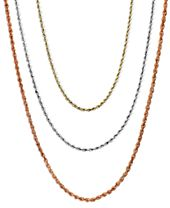 """18-30"""" Rope Chain Necklaces in 14k Gold, White Gold or Rose Gold"""