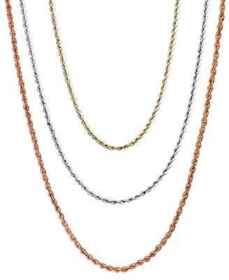 """18 30"""" Rope Chain Necklaces in 14k Gold White Gold or Rose Gold"""